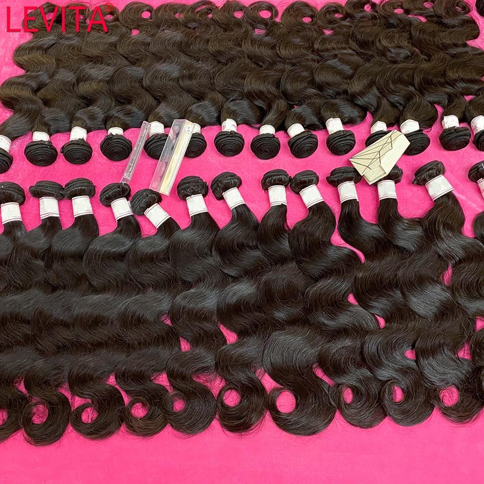 ليفيتا 100% حزم الشعر البشري بالجملة حزم الجسم موجة صفقات لحمة الشعر التمديد بيرو ضفيرة شعر برازيلي حزم