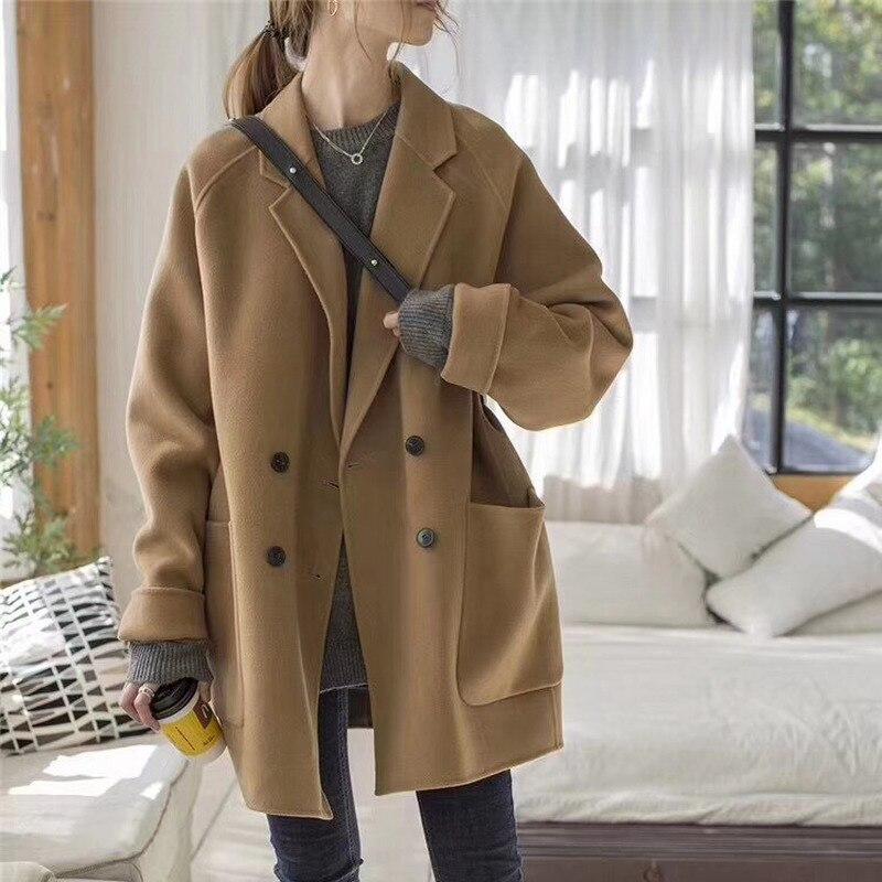 Moda Mujer nueva abrigo largo de lana sólida suelta chaqueta de Cachemira...