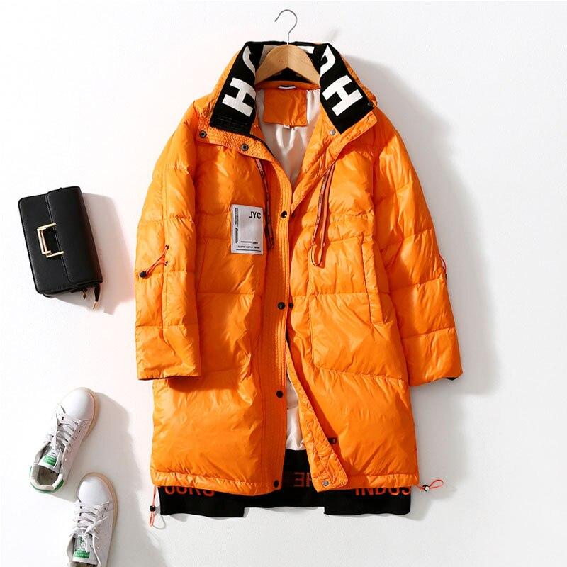 Женская куртка с вышивкой, свободные пуховики, модная новинка 2021, теплые парки на белом утином пуху, женские зимние пуховики, 90%