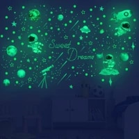 luminous stars dots astronaut planet wall stickers for kids room wall decor nursy childrens room decoration