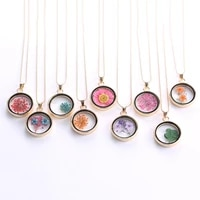 dried flower real dry flower round locket necklace glass charms pendant necklace gold chain necklace for women jewelry fashion