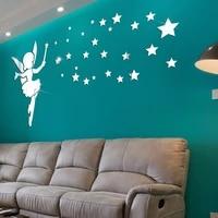 mirror acrylic sticker cartoons fairy stars wall stickers decorative mural living room tv sofa background wall diy decoration
