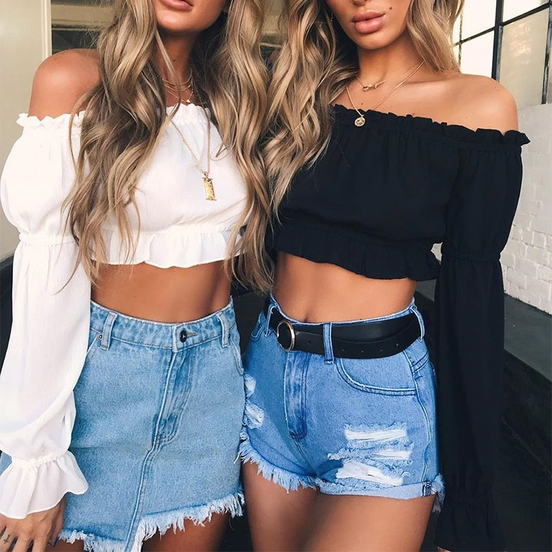 Women Sexy Off Shoulder Solid Short Crop Chiffon Blouse Women Long Sleeve Slash Neck Shirts Blouses Female Tops New 2020 Summer