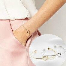 Baopon 특별 제공 3 색 넥타이 매듭 팔찌 여성용 팔찌 소녀 실버/골드/로즈 골드 컬러 뱅글 친구 애인 선물로