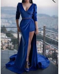 Женское вечернее платье с юбкой годе, синее платье с бусинами, V-образным вырезом, полурукавом, шлейфом, для выпусквечерние вечера, 2021