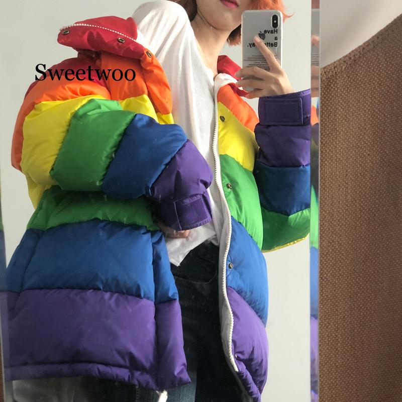 Winter Casual Jacket Women Rainbow Wadded Parka Plus Size Loose Striped Coat u swear harajuku winter casual jacket women rainbow wadded parka plus size loose striped coat femme chaqueta mujer