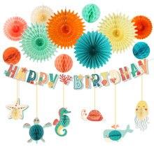 Dessin animé océan thème fête hippocampe décoration suspendus joyeux anniversaire bannière mer Animal baleine étoile de mer bébé douche fête fournitures