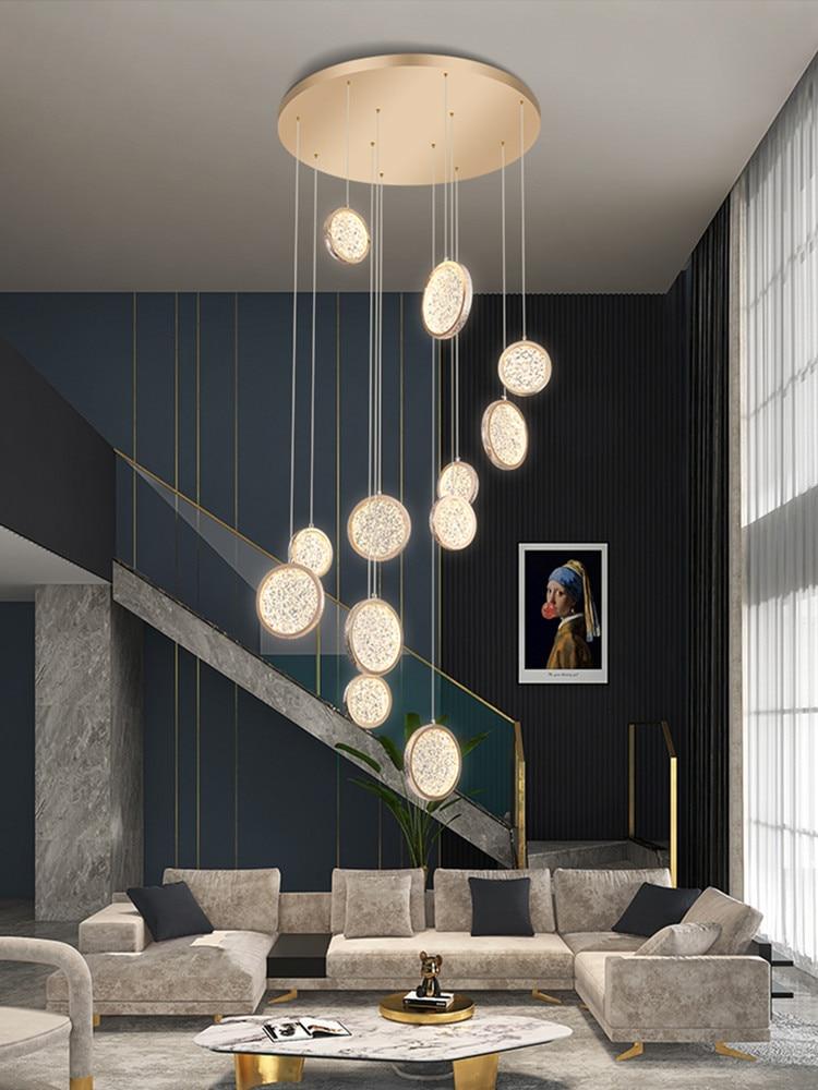 الحديثة الذهبي مستديرة الاكريليك LED الدرج الثريا التصميم الإبداعي دوبلكس بناء لوفت فيلا دوامة الدرج طويل الثريا