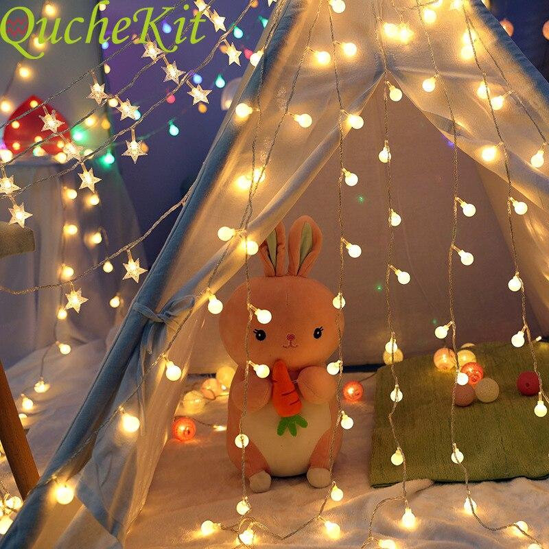 1/3/4/5/6/12M 220V LED Ball String Lichter Hochzeit Weihnachten glühbirne Fairy Girlanden Outdoor Für Home Baby Shower Party Decor Lampe