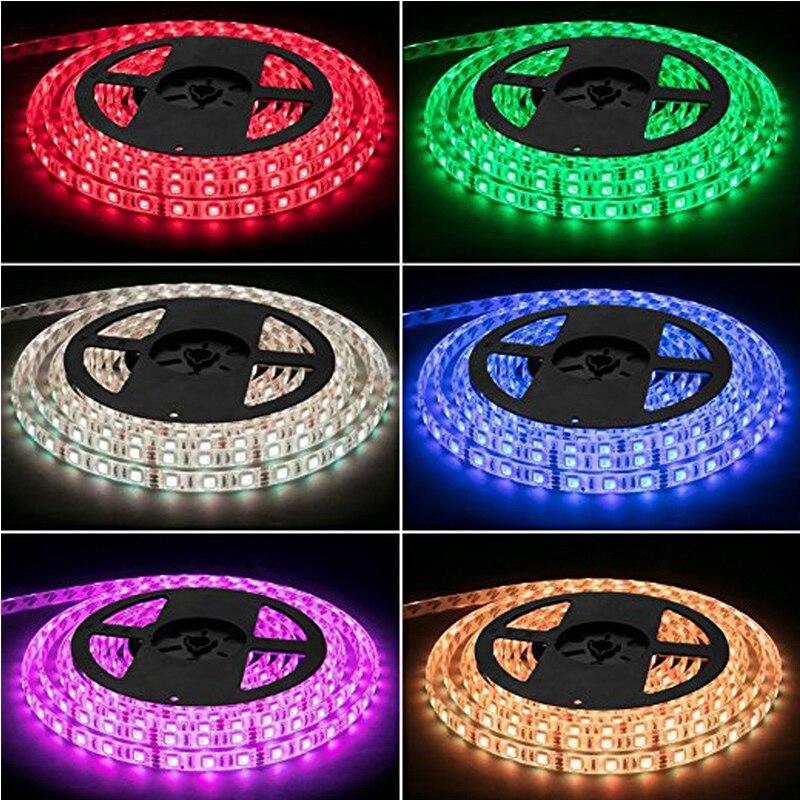 Kit de tira de luz LED RGB tira de LED impermeable SMD 5050 RGB 300 pies/5 M LEDs con control remoto 44Key controlador fuente de alimentación hogar