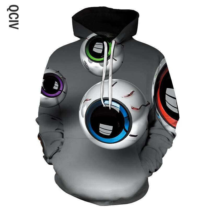 MEN'S hoodies sweatshirts happy big eyes print headdress hoodies WOMEN'S patchwork hoodies hip hop streetwear wear Hood