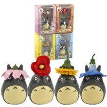 6-9cm 4 pièces/lot Studio Ghibli mon voisin Totoro figurine jouets Miyazaki Hayao fleur Totoro jardinage maison PVC modèle poupées