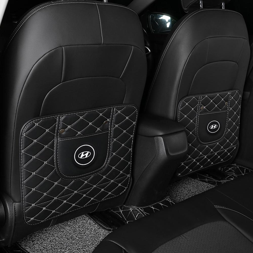 Asiento de cuero PU atrás Anti-kick Pad patrón de diamante de lujo Interior para Hyundai Sonata Santa Atos jinete XG Coupe FX2.0 I30