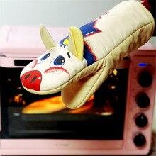 Mitts de four cochon de dessin animé   Gants en coton résistants à la chaleur, gants isolés pour micro-ondes, gants de cuisson, outils de cuisine 1 pièce