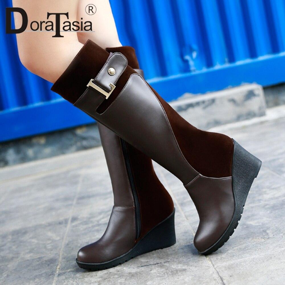 DORATASIA-أحذية شتوية نسائية بكعب عالٍ ، أحذية نسائية بكعب عالٍ مع حزام مشبك من الفرو ، مقاس كبير 30-52