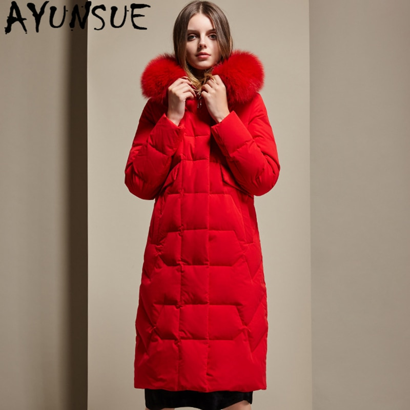 معطف نسائي AYUNSUE من فرو الثعلب الطبيعي, معطف نسائي شتوي 90% من فرو الثعلب الأبيض مع طاقية ، معطف نسائي طويل سميك ودافئ 2020