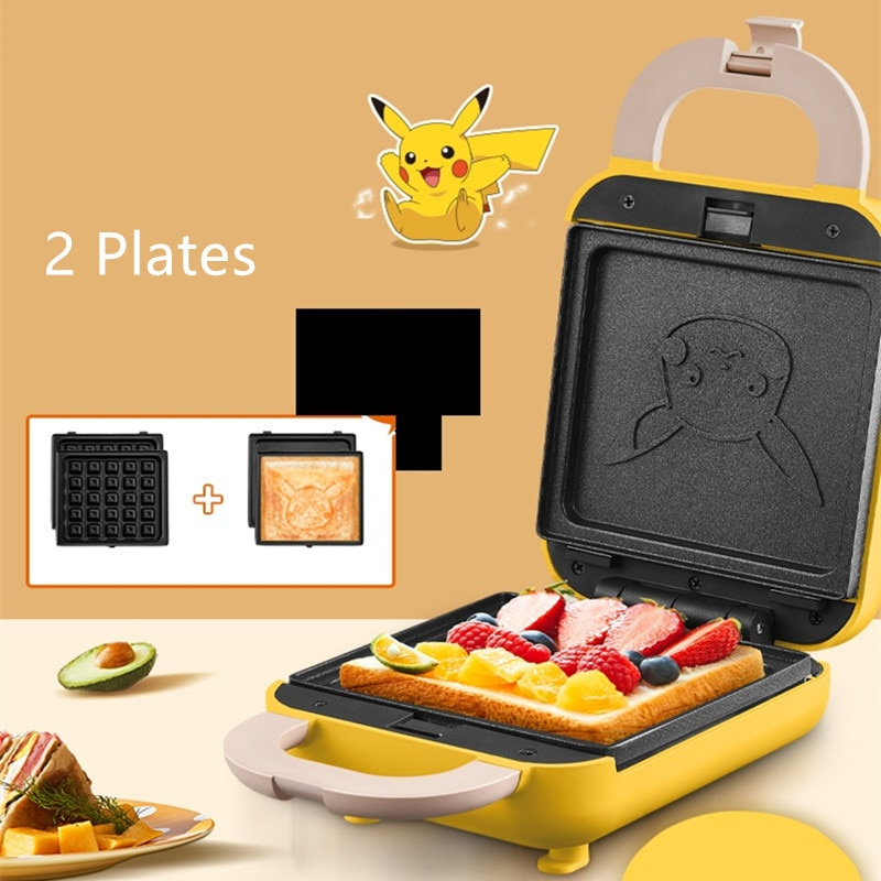 220V Household Electric Waffle Machine Breakfast Sandwich Baking Machine Non-stick Bread Cake Baker With 2 Plates