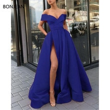 2019 Simple Evening Dresses A-Line Floor Length Off Shoulder Side Split Evening Gowns Satin Custom M