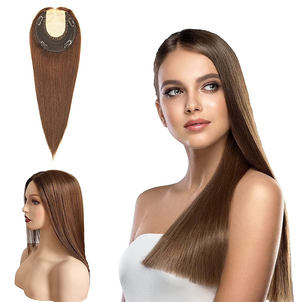 Toysww Silk Top Women Toupee Hair Piece Straight Russian Virgin Hair Lace Hairline With Clip In Hair Toupee Double Knots