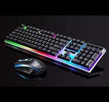 Computer Mechanical Keyboard USB Wired LED Light Backlight Keyboard Mouse Combination Set
