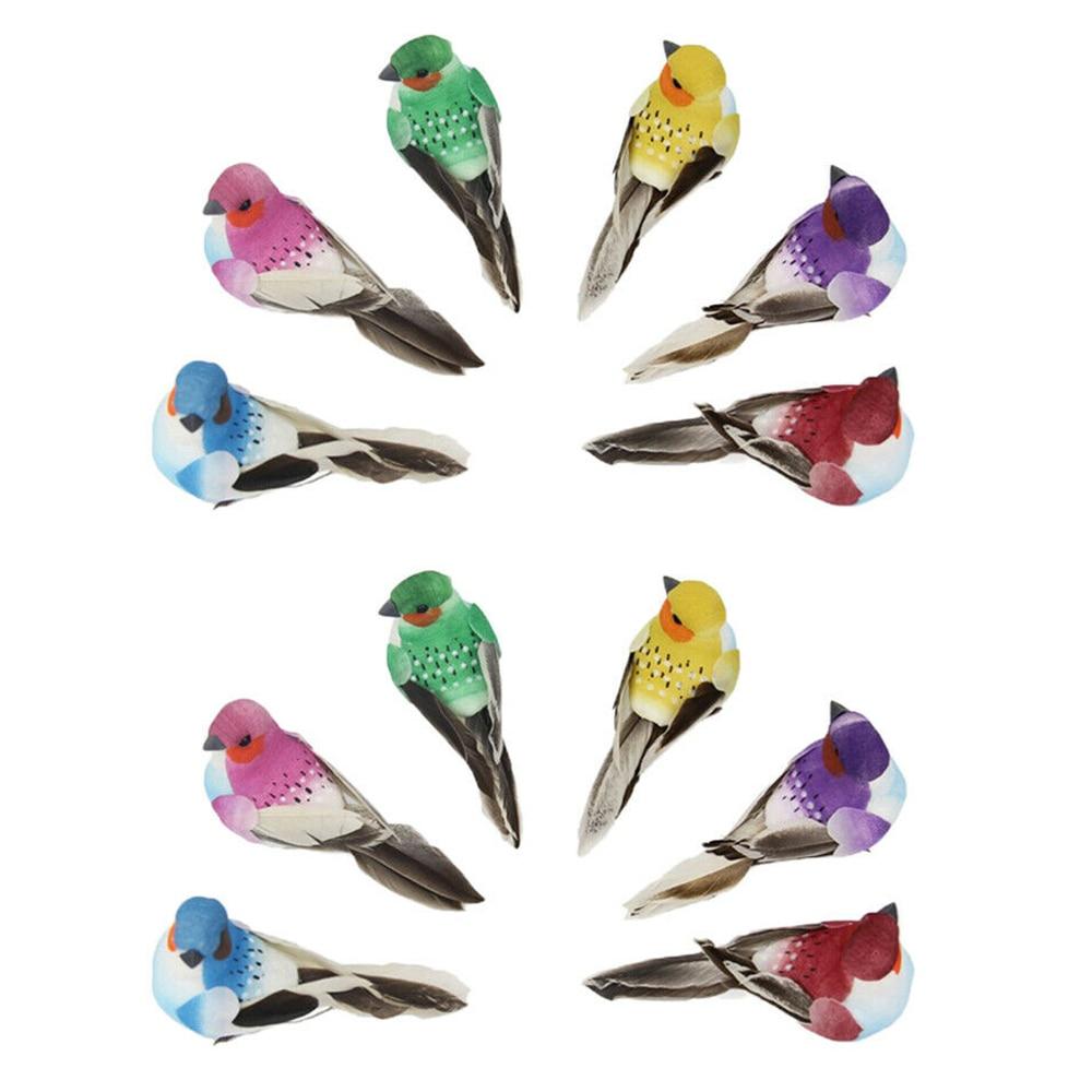 12 unids/set Ave Artificial con plumas artificiales espuma pájaro árbol de Navidad decoración Perched Woodland Birds ornamento para regalo de cumpleaños