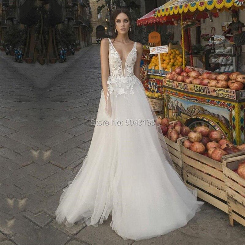 فستان زفاف طويل مثير من التول ، ياقة على شكل v عميقة ، دانتيل ، بدون أكمام ، رسن ، حديقة ، عتيق ، مجموعة 2021