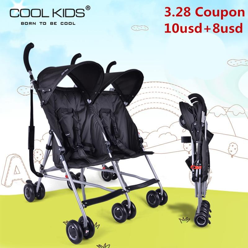 Cochecito de bebé doble para bebés gemelos, paraguas portátil ultraligero, carrito plegable para niños