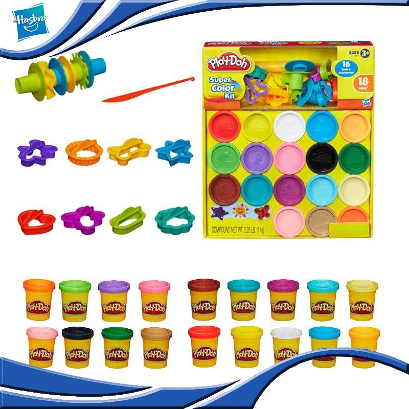 Hasbro Playdoh, conjunto de herramientas coloridas de barro con combinación de 18 colores, molde de arcilla, plastilina para juguetes artesanales para niños, regalo