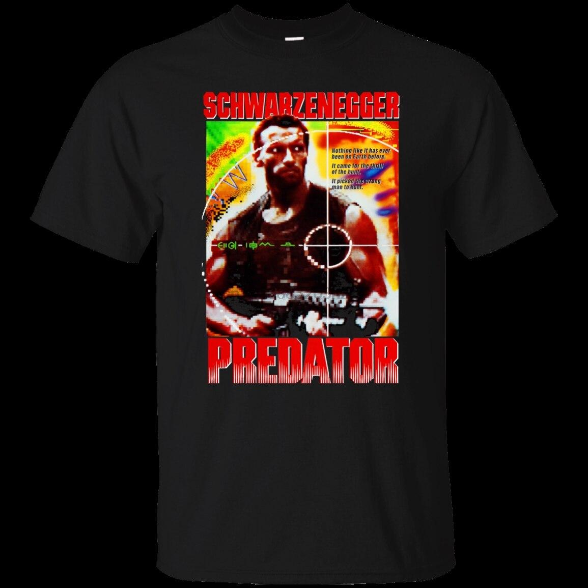 Depredador Arnold Schwarzenegger Retro años 80 ochenta película de acción comando nueva camiseta de manga corta de moda de los hombres