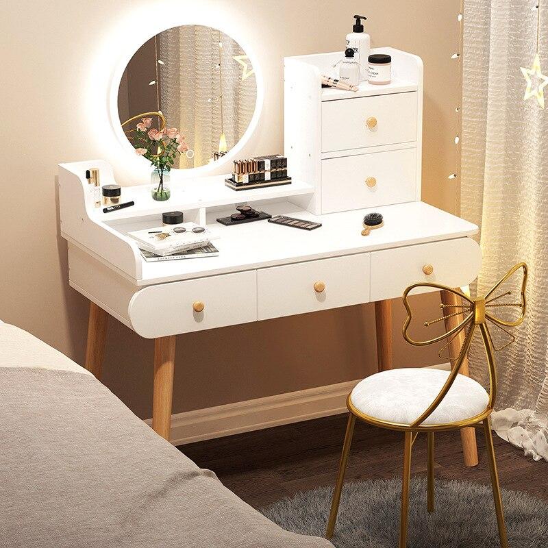 Новый скандинавский туалетный столик, современный простой туалетный столик для спальни, туалетный столик с светильник ким зеркалом