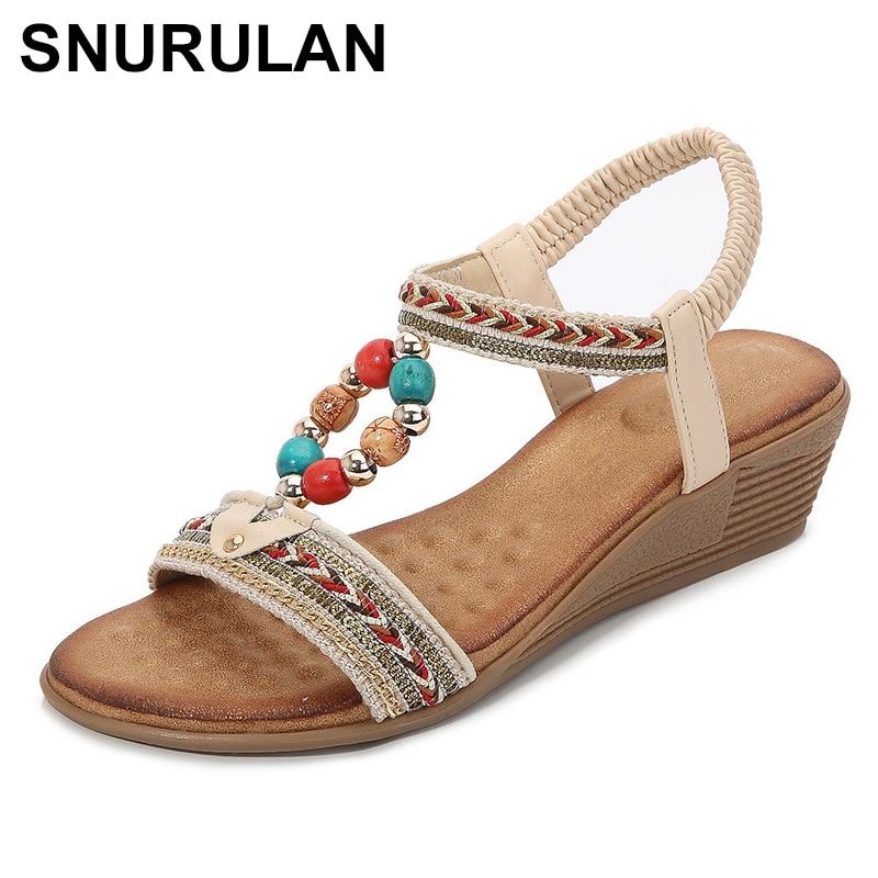 SNURULAN New Roman sandals women large size shoes for women summer ethnic style beaded slope with sandals for women sandalias
