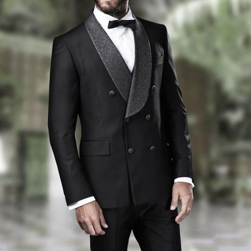 مزدوجة الصدر الزفاف العريس البدلات الرسمية للرجال شال التلبيب جديد أزياء صالح سليم مخصص رجل الدعاوى خياط صنع 2 قطعة سترة السراويل
