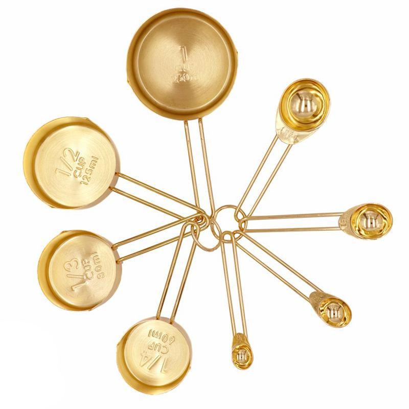 Tazas de medición de oro juego de cucharas de medición de acero inoxidable 8 piezas de ingredientes secos y líquidos utensilios de cocina