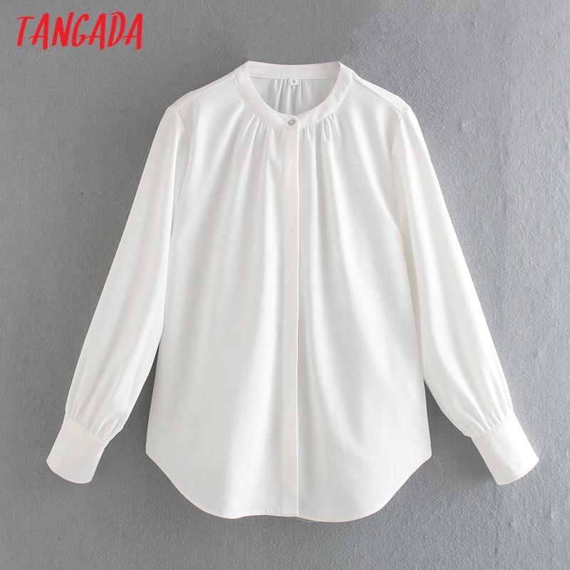 Tangada Women White Shirts Long Sleeve Solid Elegant Office Ladies Work Wear Blouses CE136