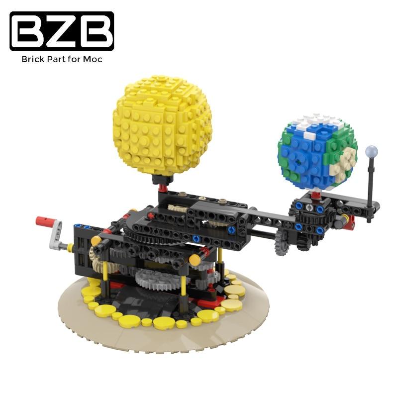 BZB MOC تدوير الأرض القمر الشمس بناء كتلة النظام الشمسي نموذج مشاريع العلوم بناء مجموعات ألعاب تعليمية للأطفال الهدايا