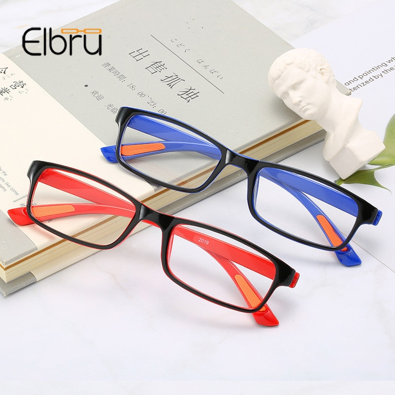 Elbru Ultraleve Anti-Luz azul Estiramento Mulheres & Homens Anti-fadiga Óculos de Leitura HD Presbiopia + 1.0 + 1.5 + 2.0 + 2.5 + 3.0 + 3.5 + 4.0