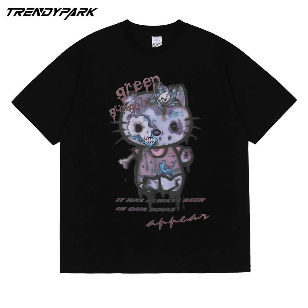 AliExpress - Men Hip Hop T Shirt Streetwear Rangy Kitty Cartoon Cat Print T-Shirt Harajuku Cotton 2021 Summer Short Sleeve Tshirt Black Shirt