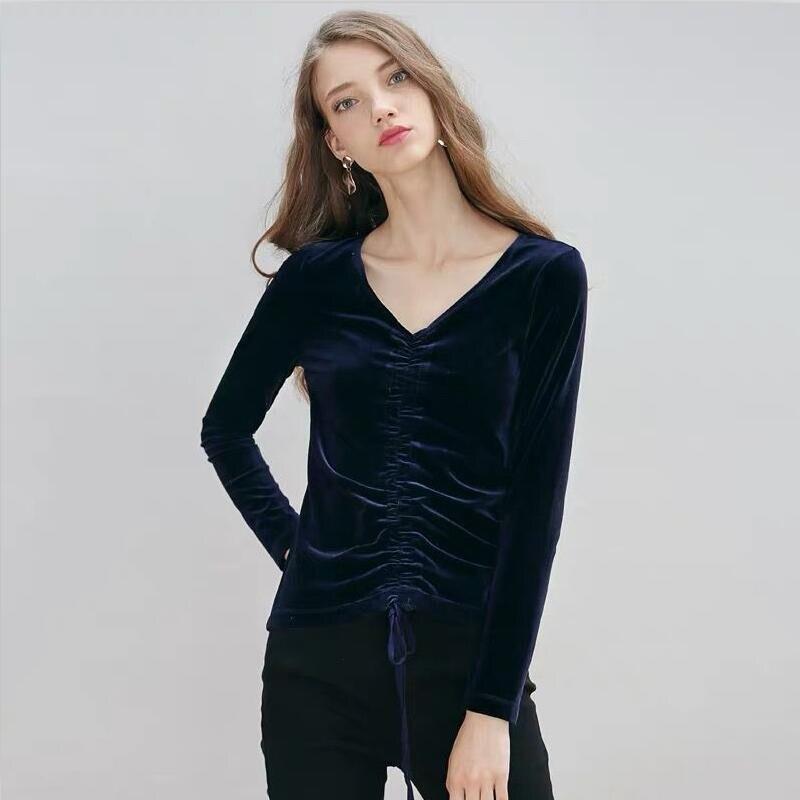 Invierno mujer Vintage playera elegante otoño sólido cuello en V cordón ajustado ajuste manga larga de terciopelo camiseta de talla grande Vestidos M-8XL