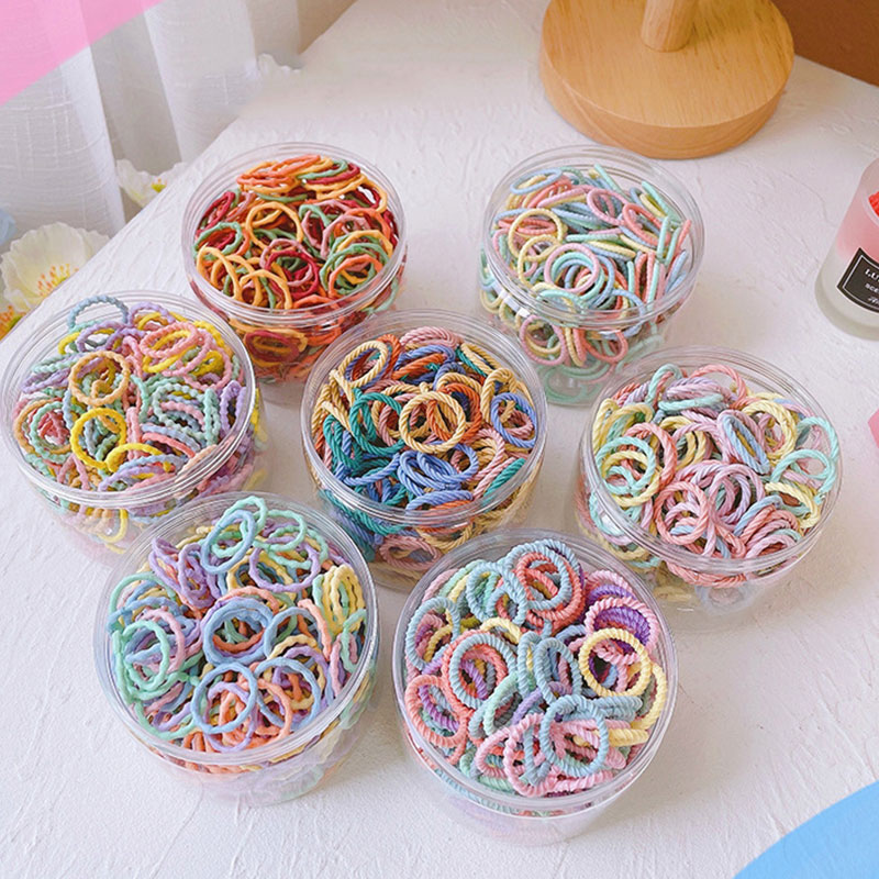 100 Pcs/Box New Children Cute Colors Soft Elastic Hair Bands Baby Girls Lovely Scrunchies Rubber Ban