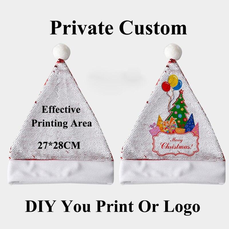 Взрослые Рождество DIY печать фото пайетки Нетканая ткань шляпа печатная на пайетках сбоку сделать собственное изображение или логотип