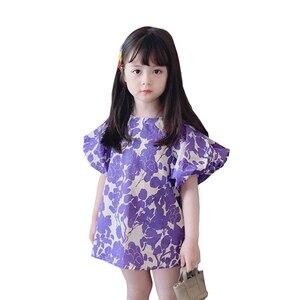 Женское платье с большими пузырьковыми рукавами, фиолетовое платье с цветочным принтом, весна-лето 2021