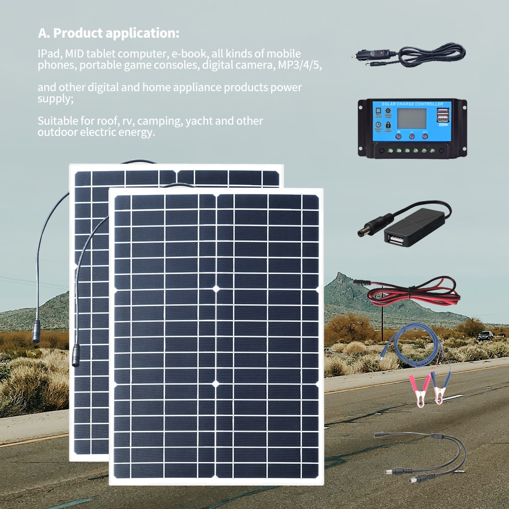 50 Watt 18V 100 watt PET Flexible Solar Panel Kit 12v/24v Controller Charging Battery Rv, Camping,Yacht and Outdoor Electricity
