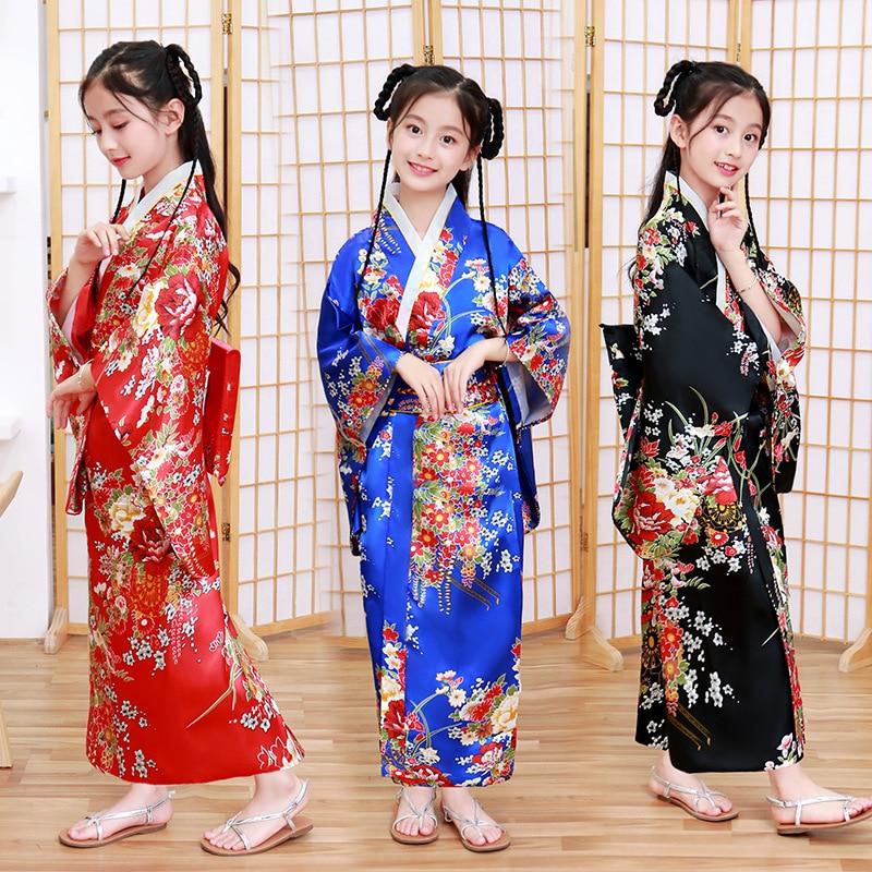 Children Girls Japanese Traditional Costumes Kimono Dress National Kimono Yukata with Obi Novelty Evening Dress Cosplay Costume lovelive love live ayase eli flower kimono yukata dress uniform outfit anime cosplay costumes