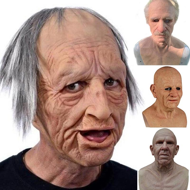 Halloween Masks Scary Horror Mask Old Man Cosplay Party Full Head Latex Mask Full Head Latex Mask Grandpa Funny Helmet Masks недорого