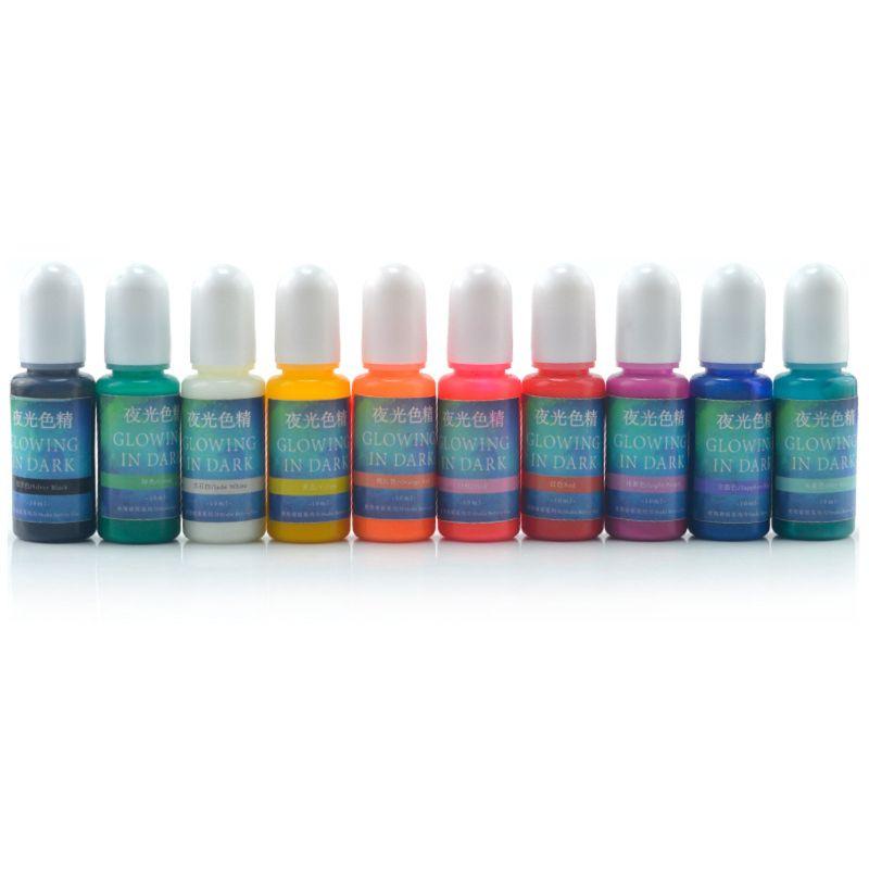 10 cores brilhando na resina de cola epoxy escura pigmento luminoso colorante jóias fazendo pxpd