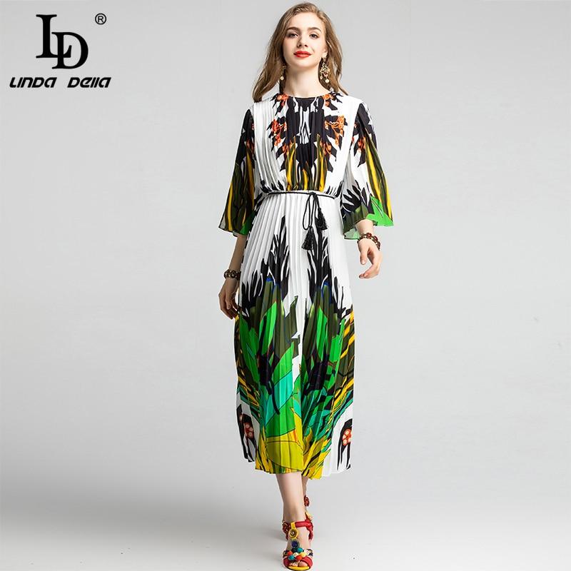 Ld linda della 2020 primavera moda pista elegante vestido feminino alargamento manga com cinto arte abstrata impresso plissado um vestido de linha