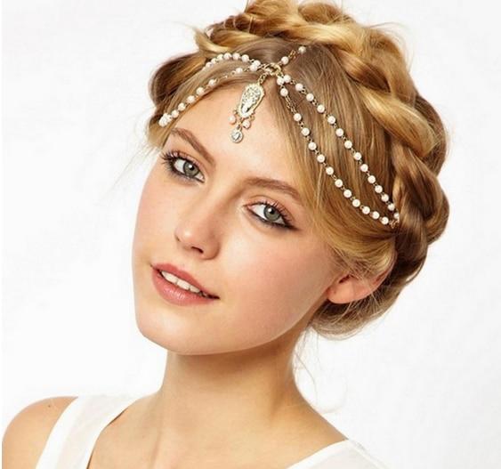 Women Vintage Deco Flapper Ivory Multi Beads Crown Tikka Headband Wedding Head Chain