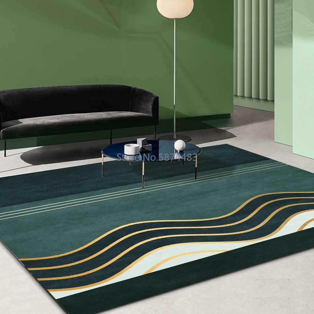 200*300 سنتيمتر الموضة بسيطة الأخضر الذهبي منحنى قطاع المطبخ غرفة المعيشة غرفة نوم السرير سجادة أرضية التخصيص