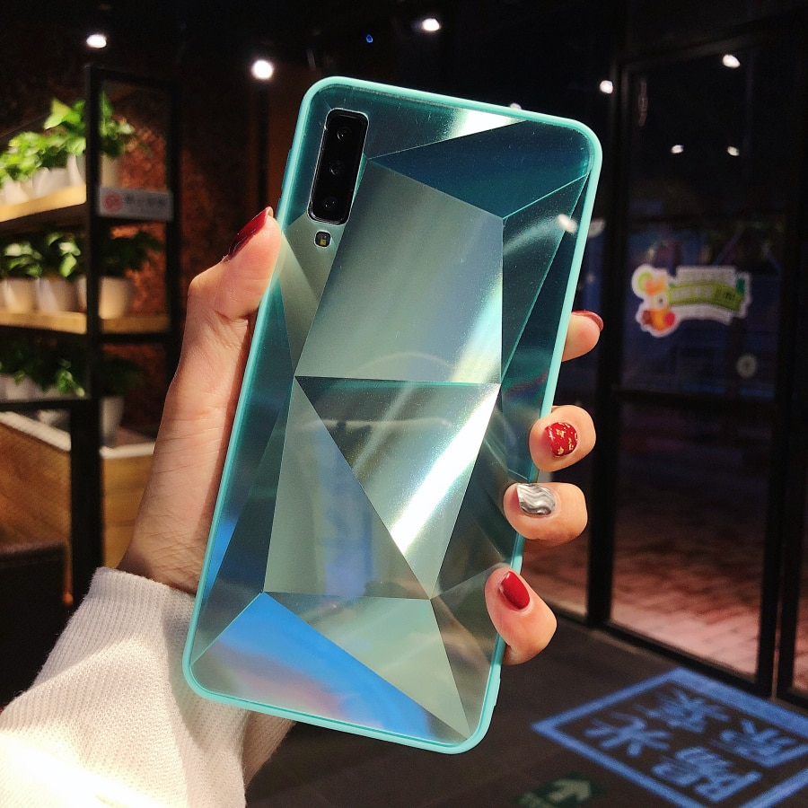 3D diamante espejo jalea funda para Samsung galaxy A7 2018 A750 A6 más A8 A9 J7 2015 J700 funda de lujo para Moto G7 jugar G7