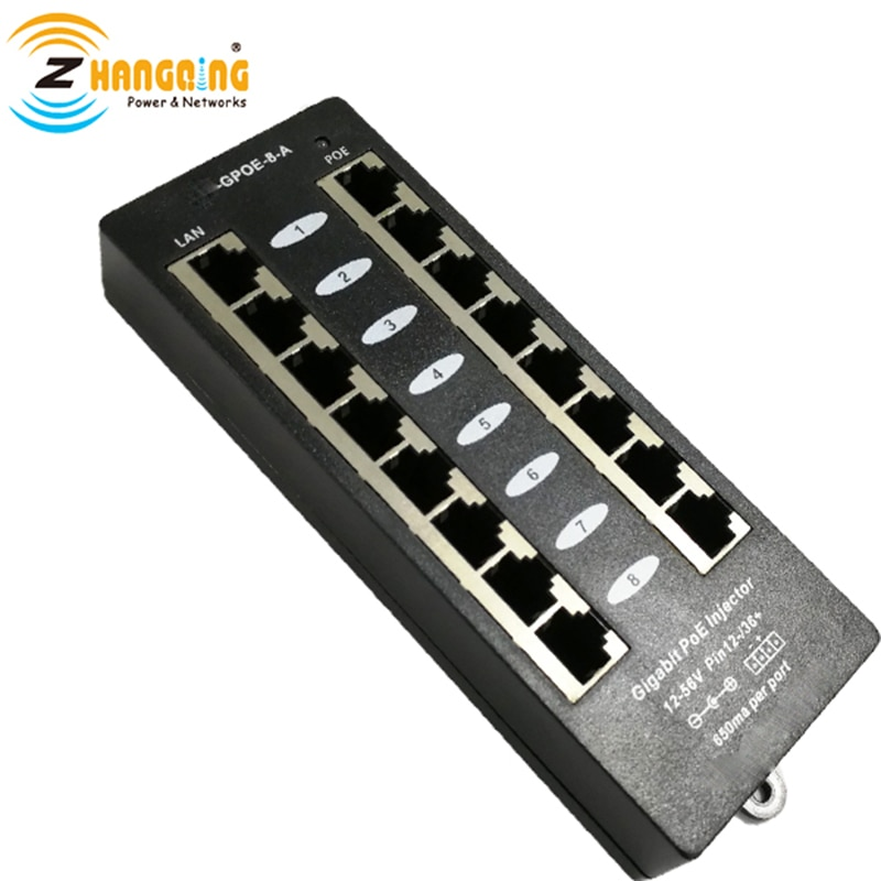 لوحة تصحيح PoE 802.3af ، حاقن أمان جيجابت 8 منافذ ، وضع الشحن المجاني ، لجهاز PoE ، هاتف IP ، 48 فولت